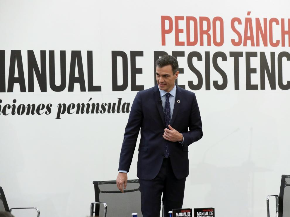 Pedro Sánchez, en la presentación de su libro 'Manual de resistencia'.