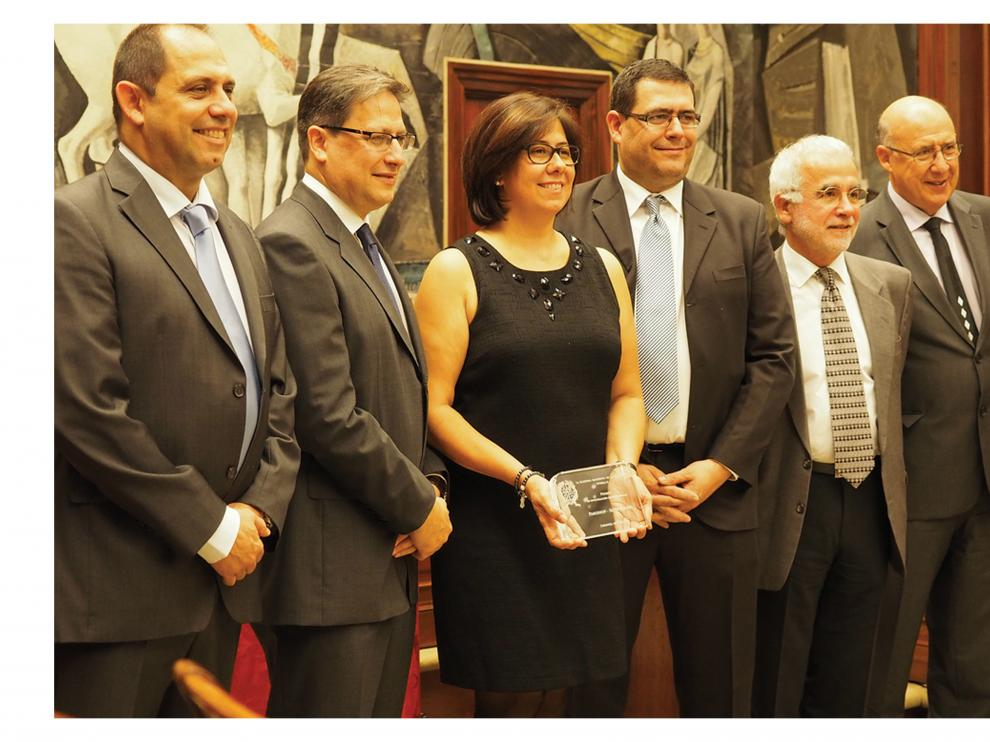 De izquierda a derecha: José, Antonio, Margarita y Manuel Rébola, junto a Jorge Pastor y Mario Moreno.