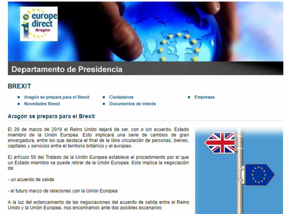 Página de información del Gobierno de Aragón sobre el 'brexit'.