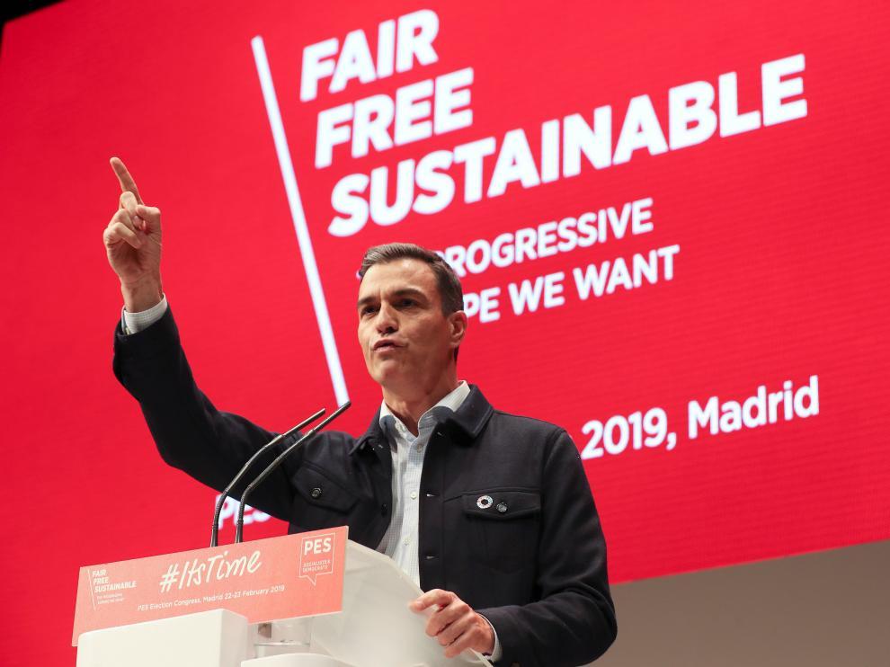 Pedro Sánchez durante la Convención de Socialistas Europeos