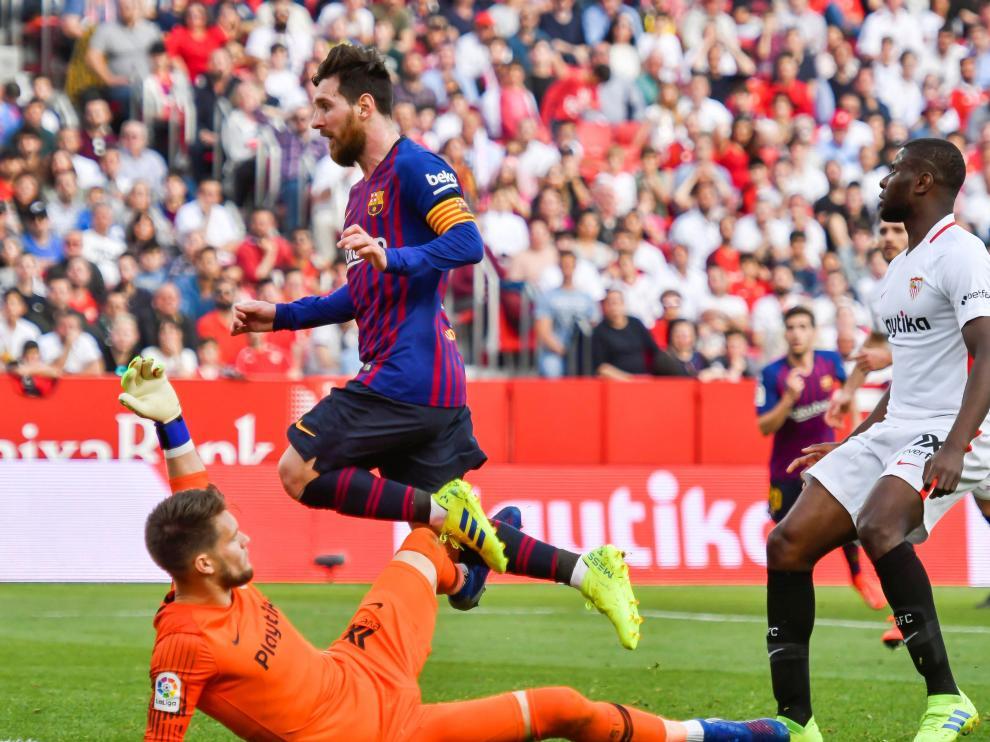 Messi, en el partido ante el Sevilla.