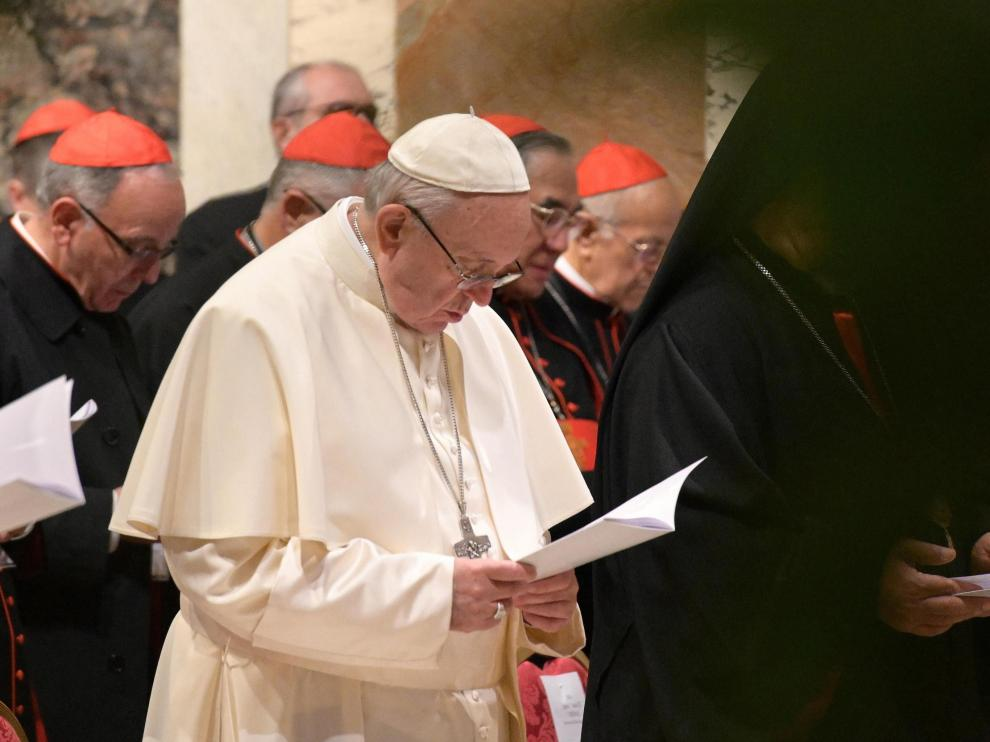 El Papa francisco durante una homilía en la cumbre sobre los abusos a menores.