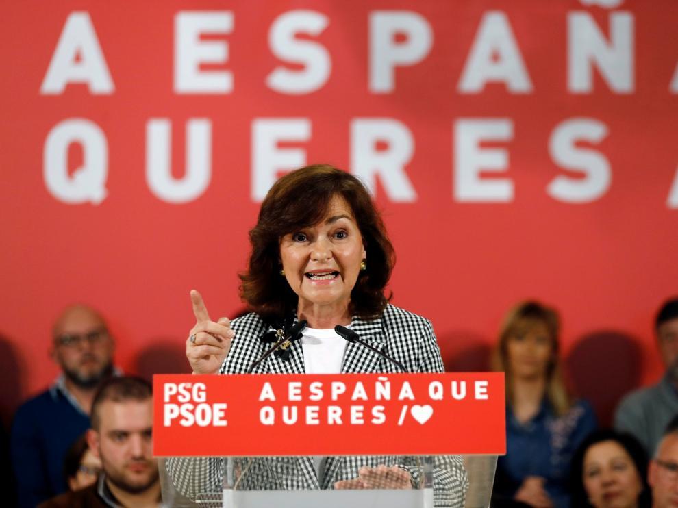 La vicepresidenta del Gobierno, Carmen Calvo, en un acto en Lugo con socialistas gallegos.