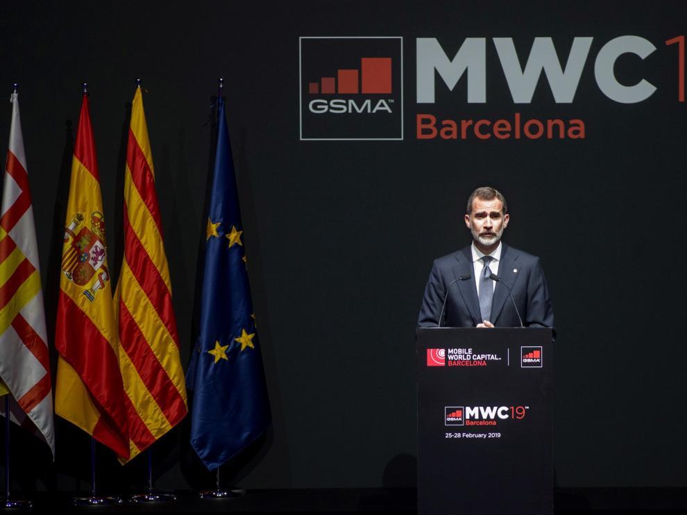 El rey Felipe VI ha presidido la cena de inauguración del Mobile World Congress 2019 en Barcelona.
