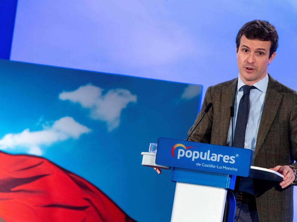 El presidente del Partido Popular, Pablo Casado, en Toledo.