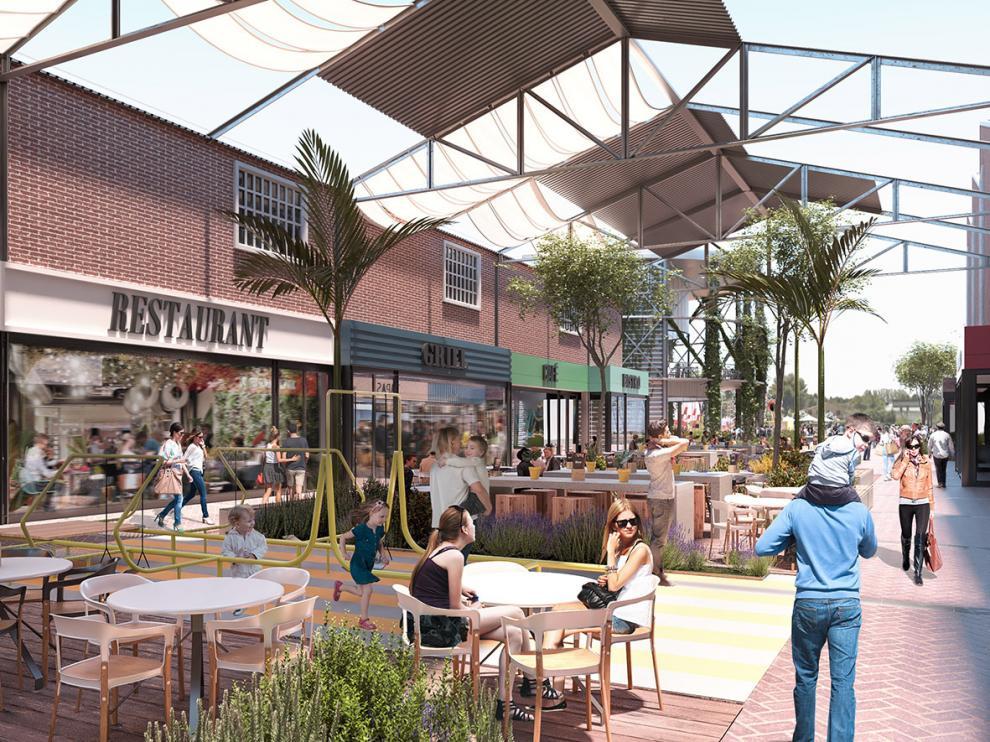 Recreación de lo que será el complejo comercial Torre Village, ubicado en los terrenos en los que estaba la fábrica de colchones de Pikolín