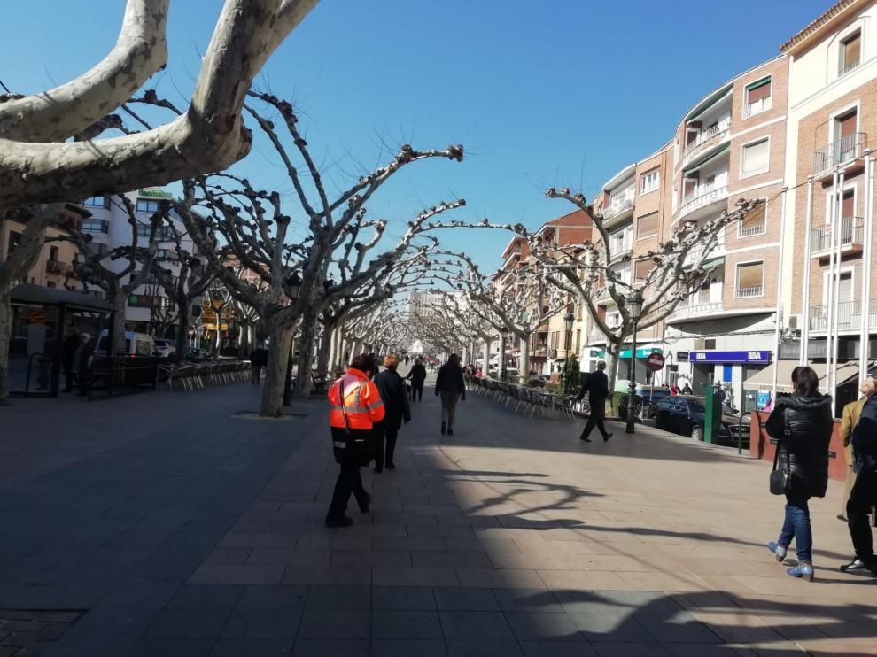 Estado que presenta el paseo Cortes de Aragón de Calatayud.