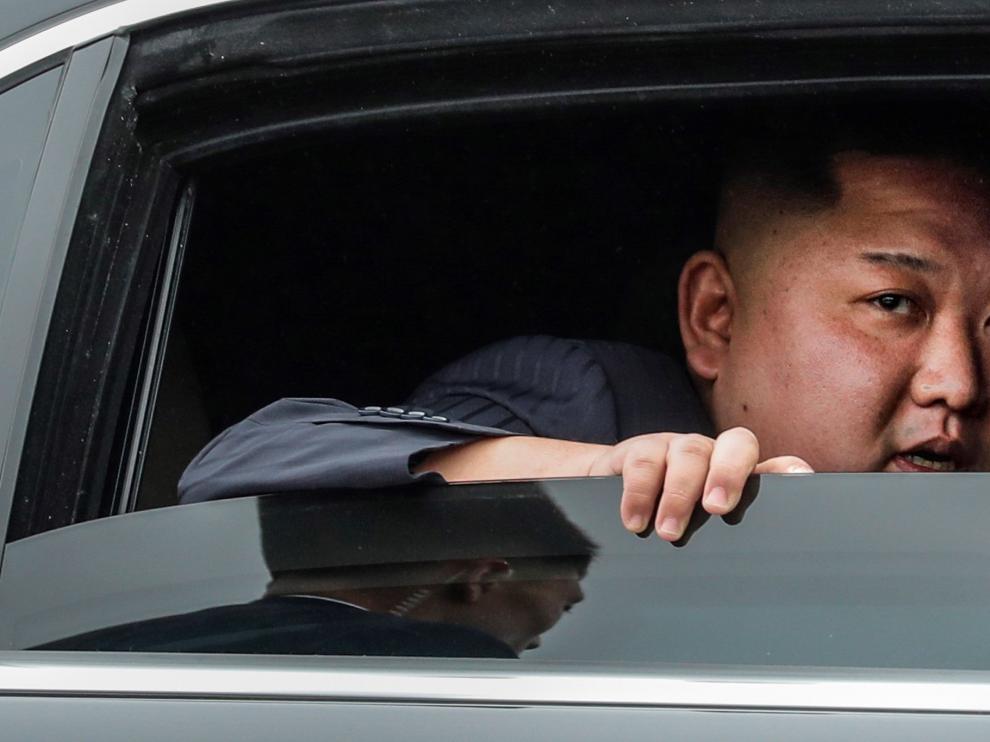 Kim Jong-un durante su viaje en coche desde Dong Dang hasta Hanoi.