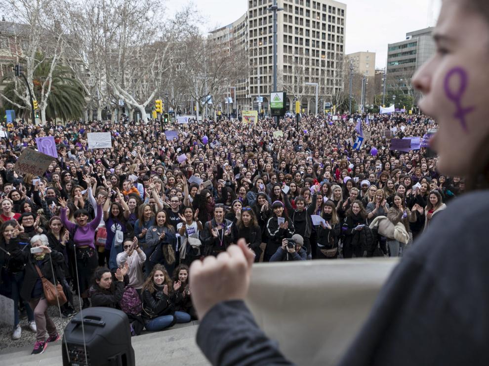 Momento de la manifestación del pasado 8-M en Zaragoza.