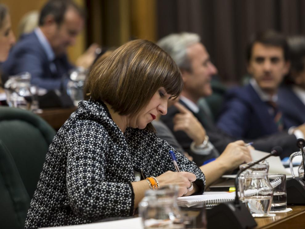 La concejal de Cs Sara Fernández, durante un pleno municipal.