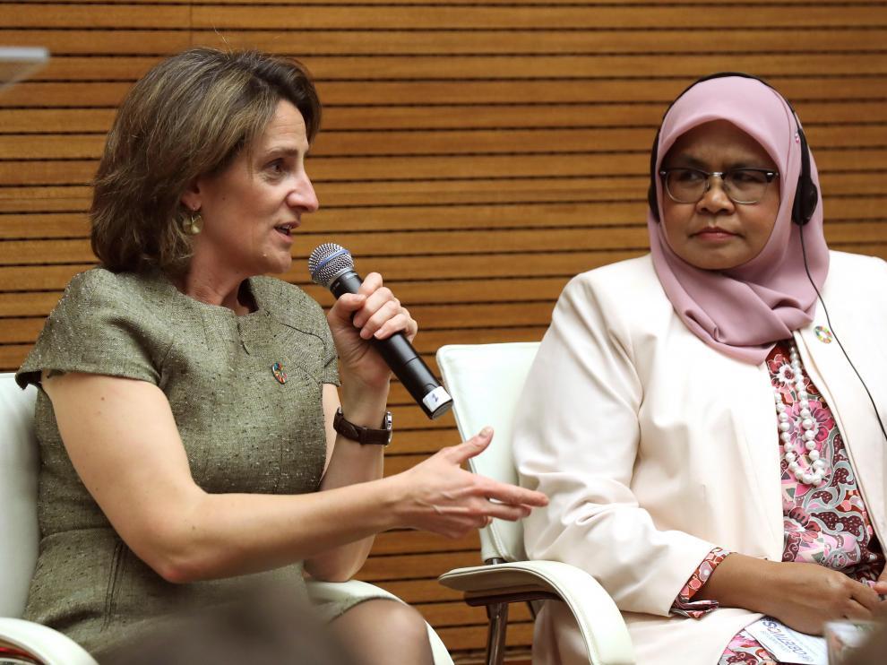 Teresa Ribera y Maimunah Mohd Sharif, este martes.