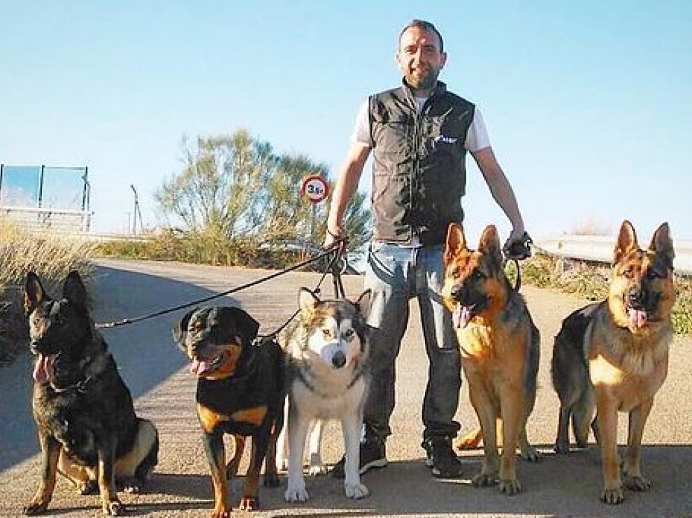El educador canino Javier de Vera ejerce su profesión en La Almunia.
