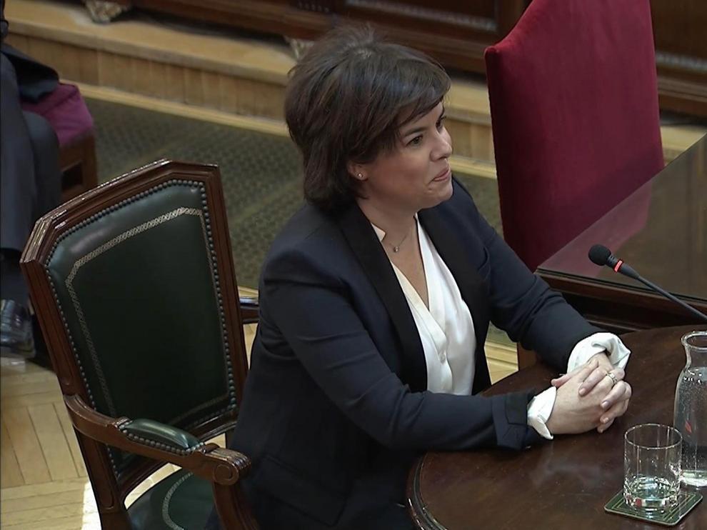 Soraya Saenz de Santamaría durante su declaración como testigo en el juicio del 'procés'