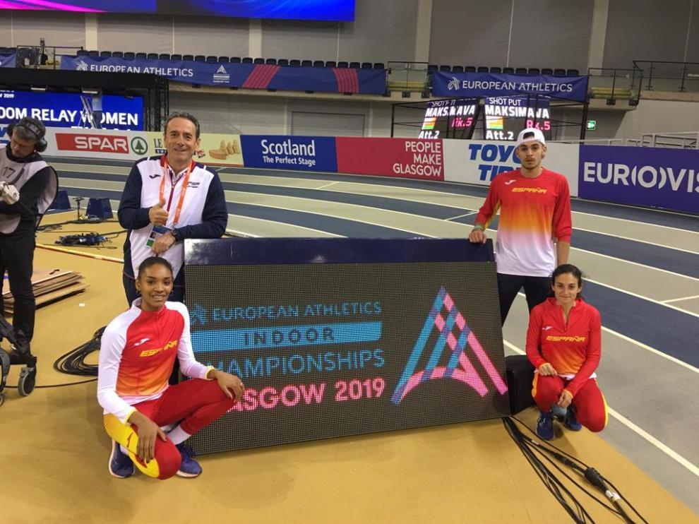 Félix Laguna, Salma Paralluelo, Daniel Ambrós y Cristina Espejo, ayer en Glasgow.