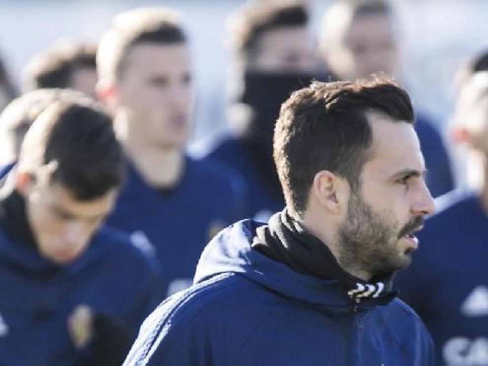 Guitian, en el entrenamiento del Real Zaragoza.