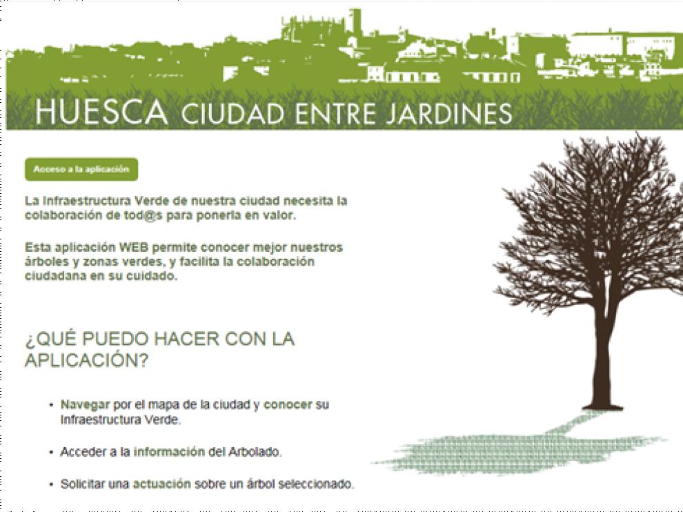 Nueva aplicación para conocer la situación de los árboles y zonas verdes de Huesca
