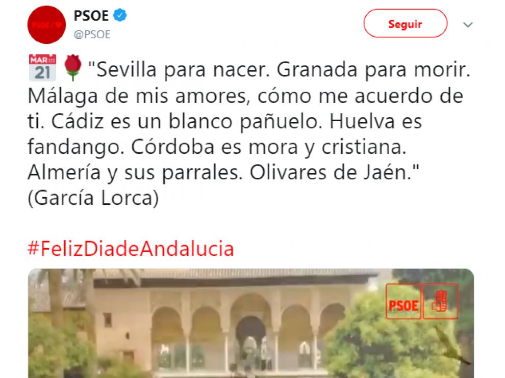 Mensaje que ha escrito la cuenta del PSOE en Twitter por el día de Andalucía.