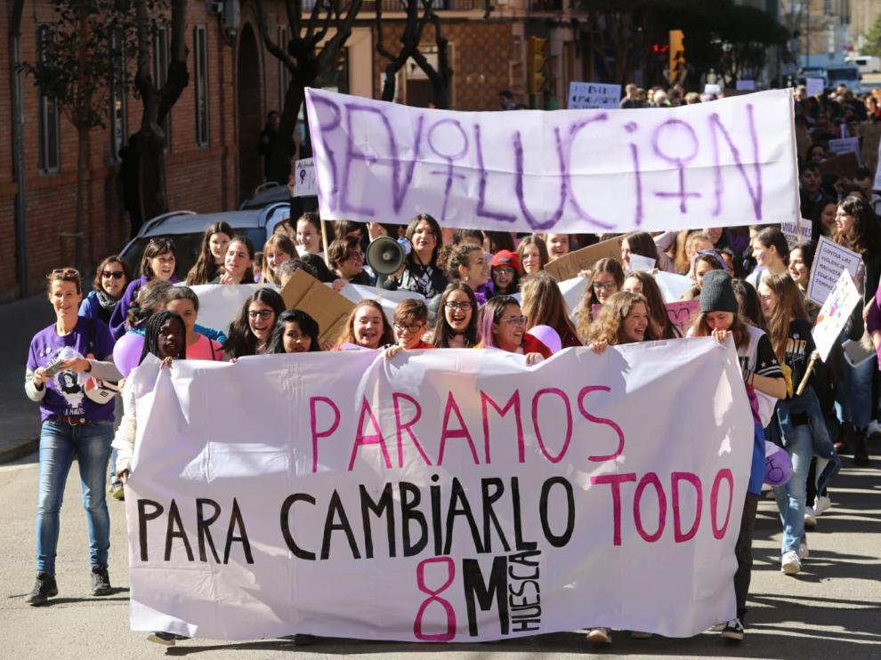 Una de las dos manifestaciones convocadas en Huesca