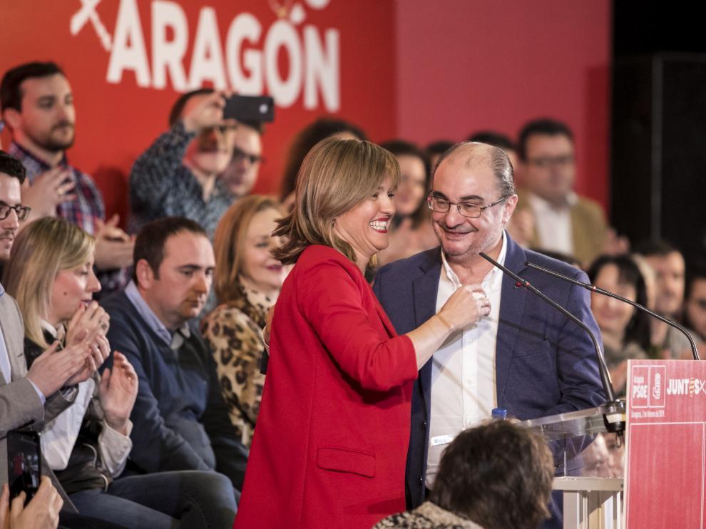Alegría y Lambán, el pasado mes de febrero durante un mitin de Pedro Sánchez en Zaragoza