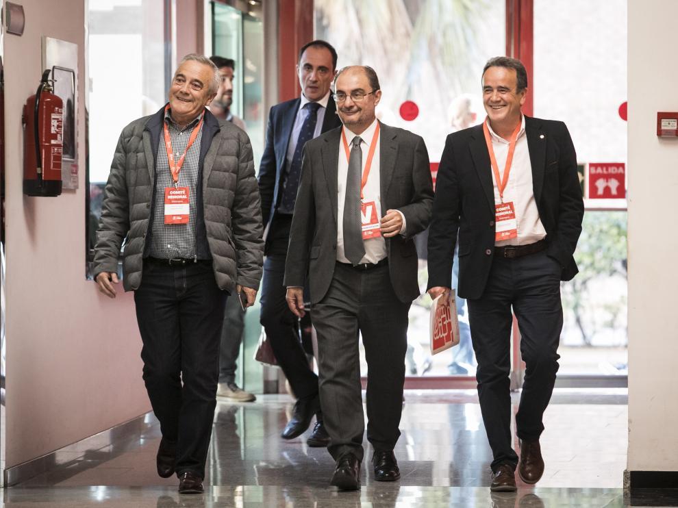 Sada, Lambán y Sánchez Quero, ayer en el comité regional extraordinario del PSOE