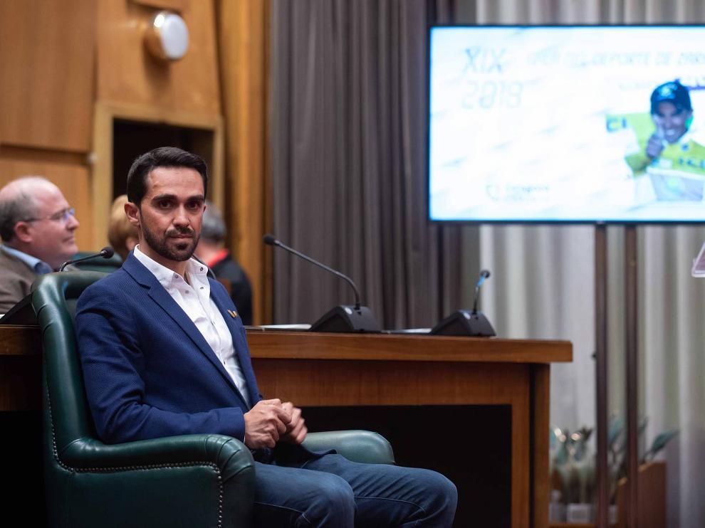 Alberto Contador en la gala del Deporte Aragonés.