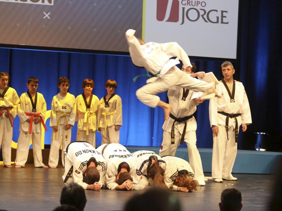 Exhibición de taekwondo en la Gala del Deporte Aragonés del año pasado.