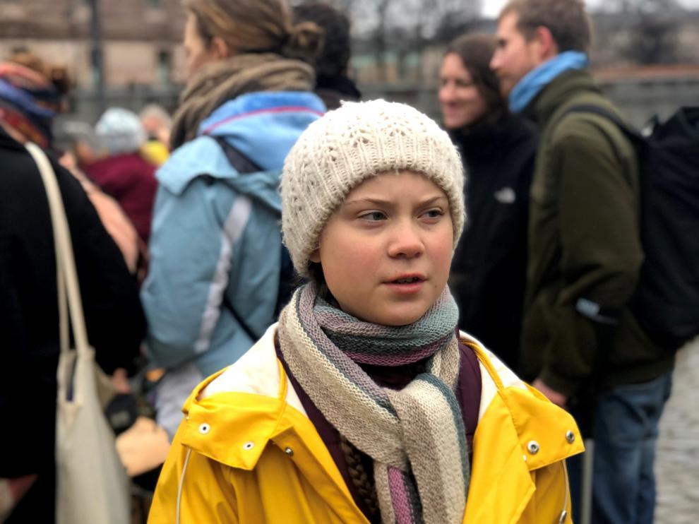 La activista sueca de 16 años, Greta Thunberg, en una manifestación la semana pasada en Estocolmo.