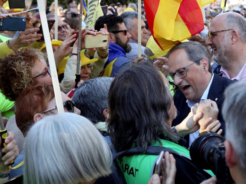 Arranca en Madrid la marcha contra el juicio del procés encabezada por Torra.