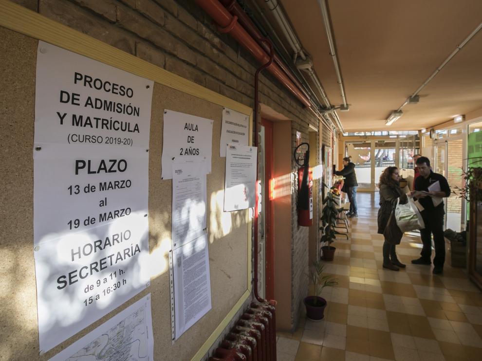 Colegio Domingo Miral de Zaragoza en pleno proceso de escolarización