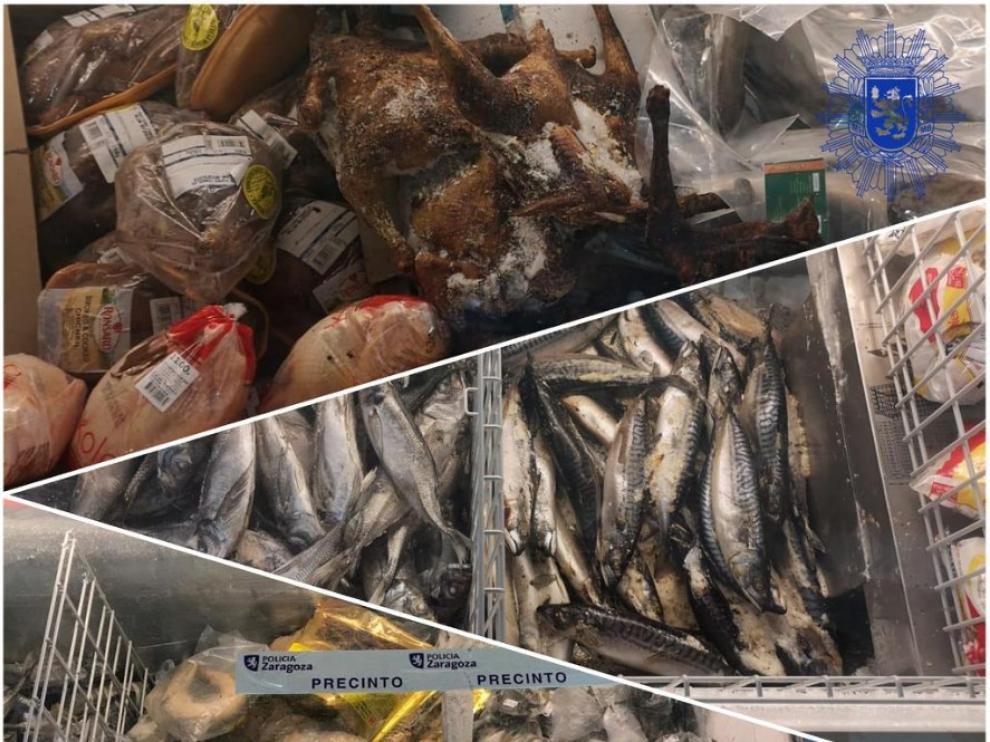 Imagen de los alimentos incautados por la Policía Local de Zaragoza tras un control sanitario de la DGA.