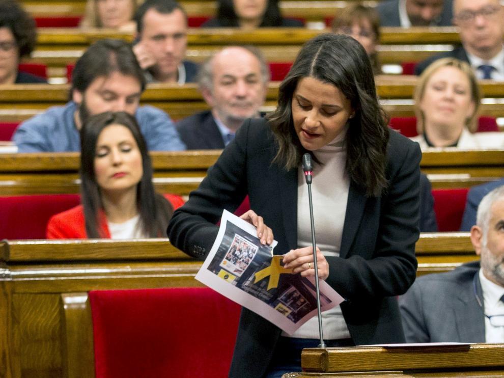 La líder de Ciudadanos, Inés Arrimadas, este miércoles, en la sesión de control al Govern.