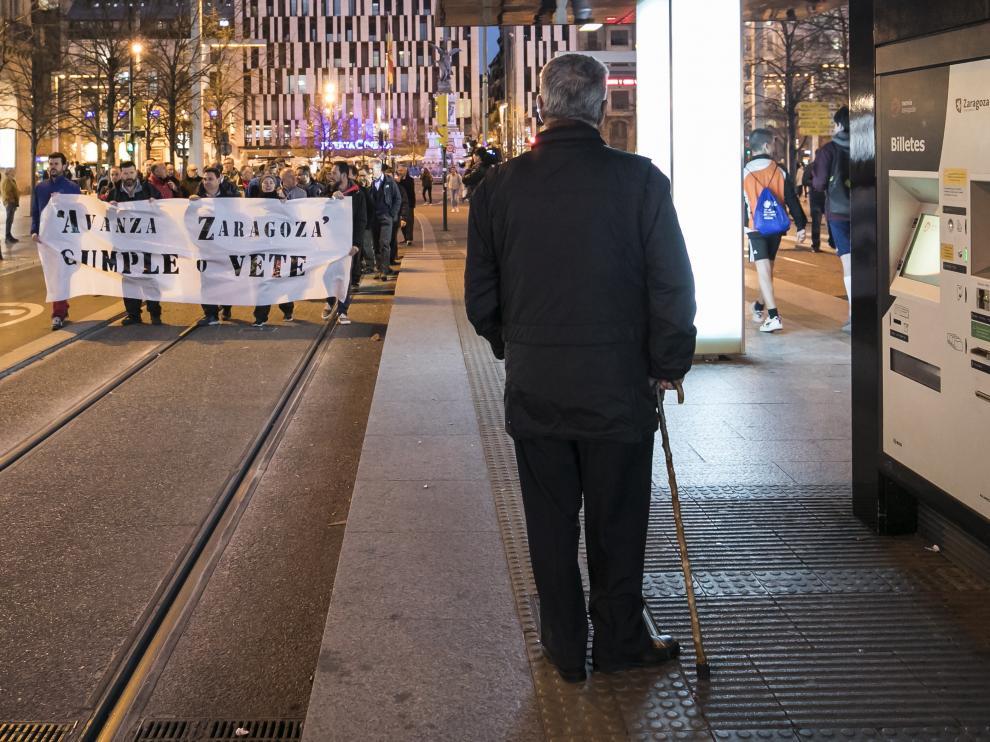 Foto de la concentración de los conductores de los autobuses urbanos de Zaragoza el pasado 20 de marzo