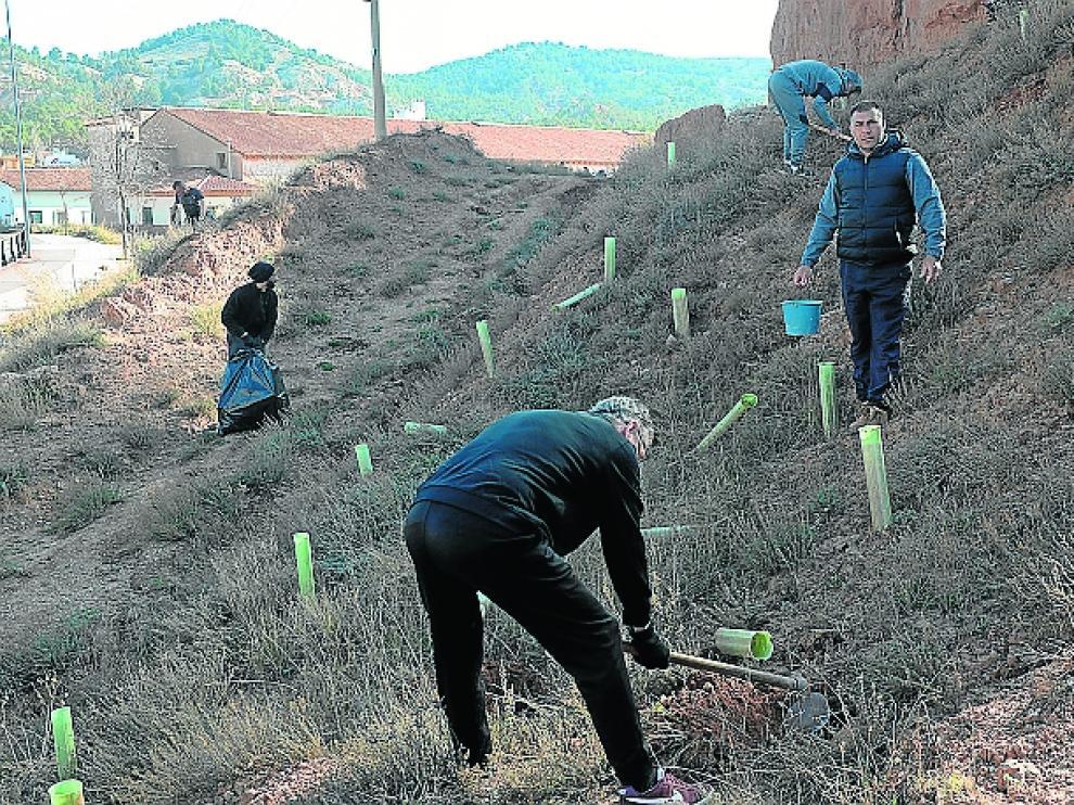 Reclusos de la cárcel de Teruel durante la plantación de pinos en San Julián