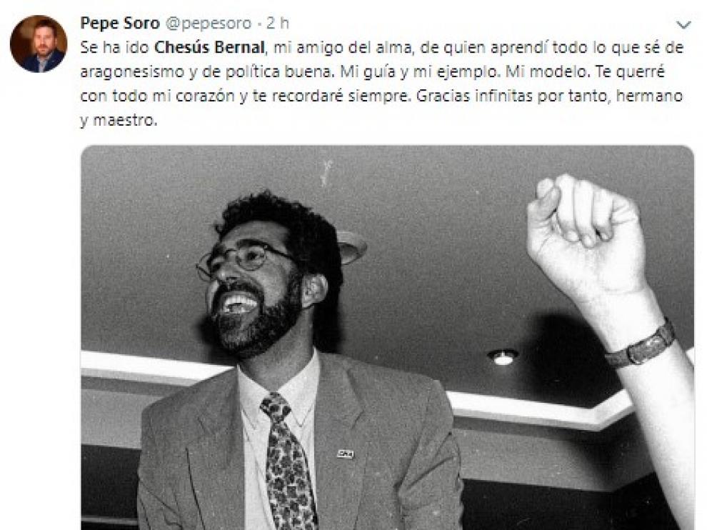 Unánime lamento por la muerte de Chesús Bernal
