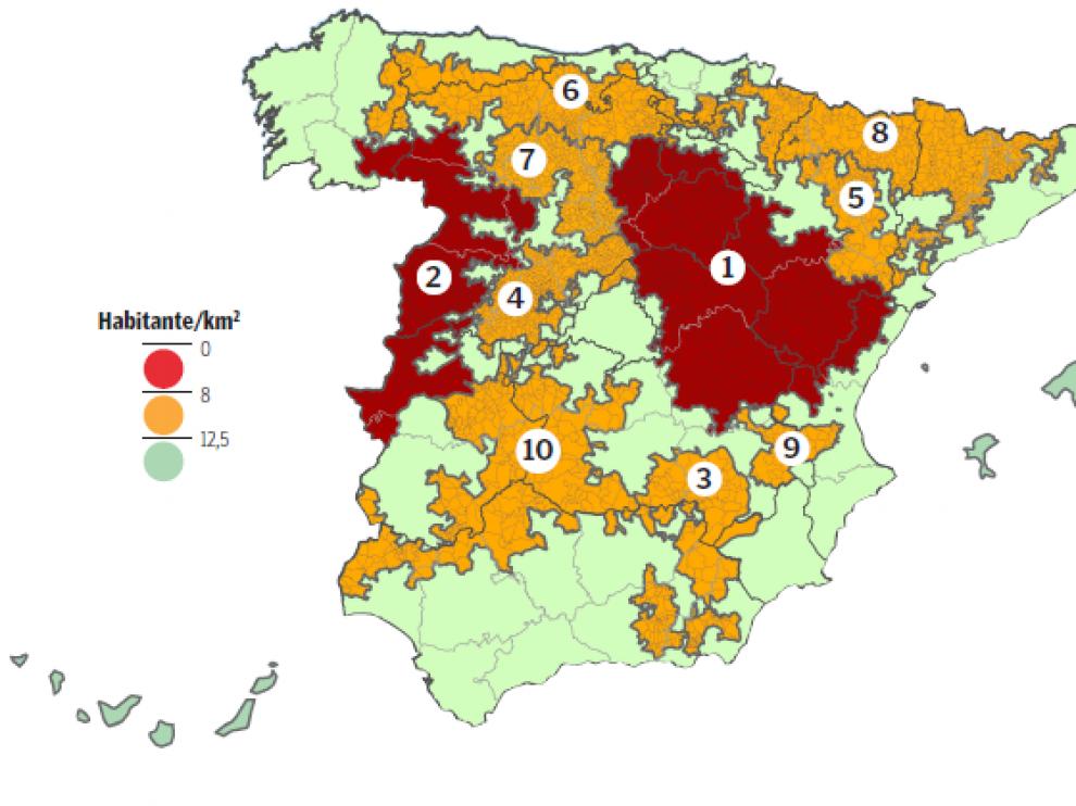 Áreas escasamente pobladas de España