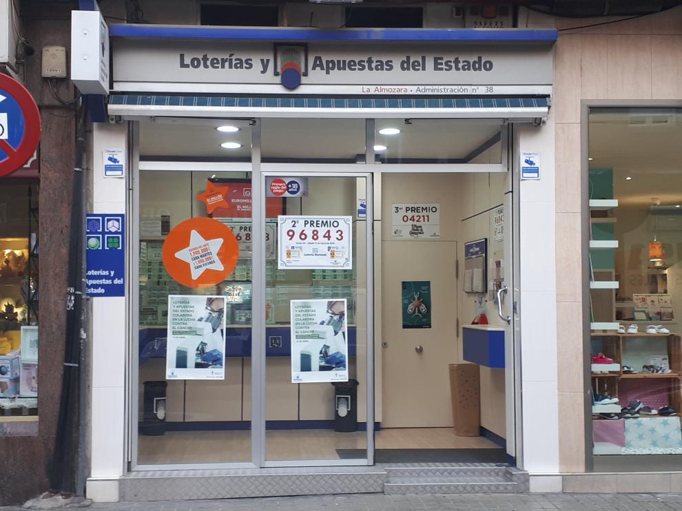 Parte del segundo premio de la Lotería Nacional toca en Zaragoza