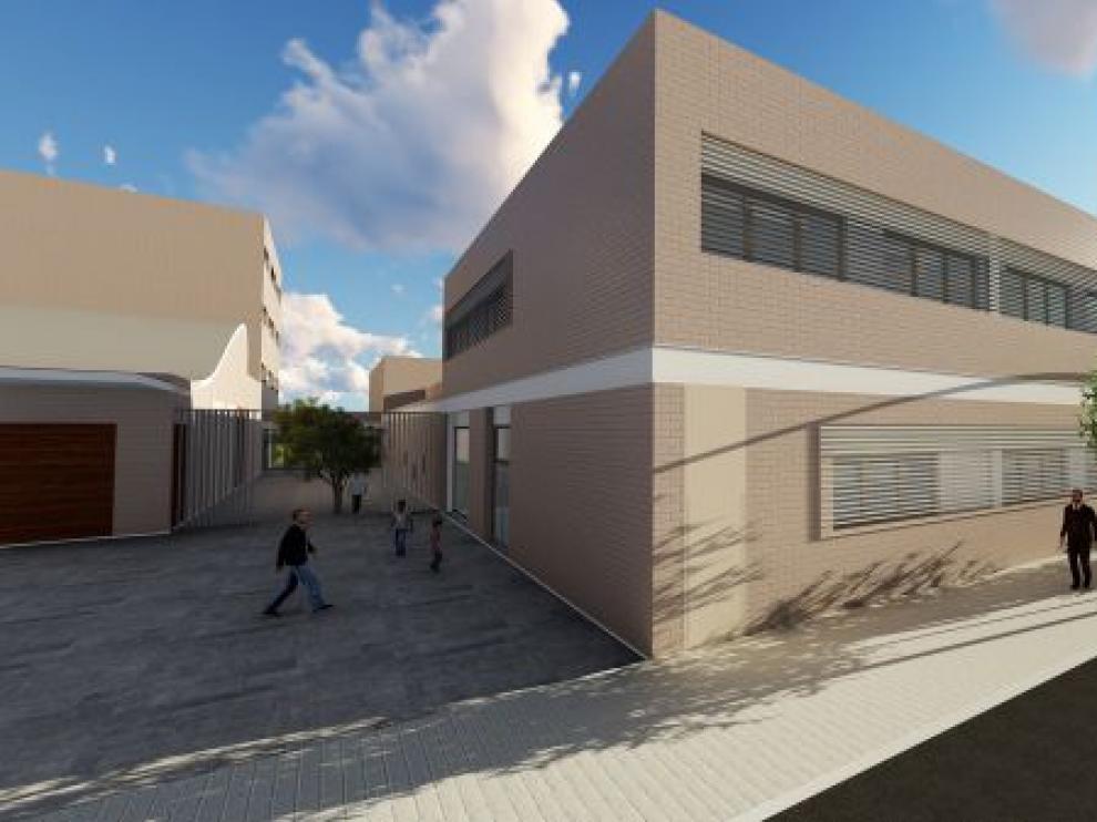 Recreación del nuevo colegio La Purísima y San Antonio, en el barrio Jesús de Zaragoza.