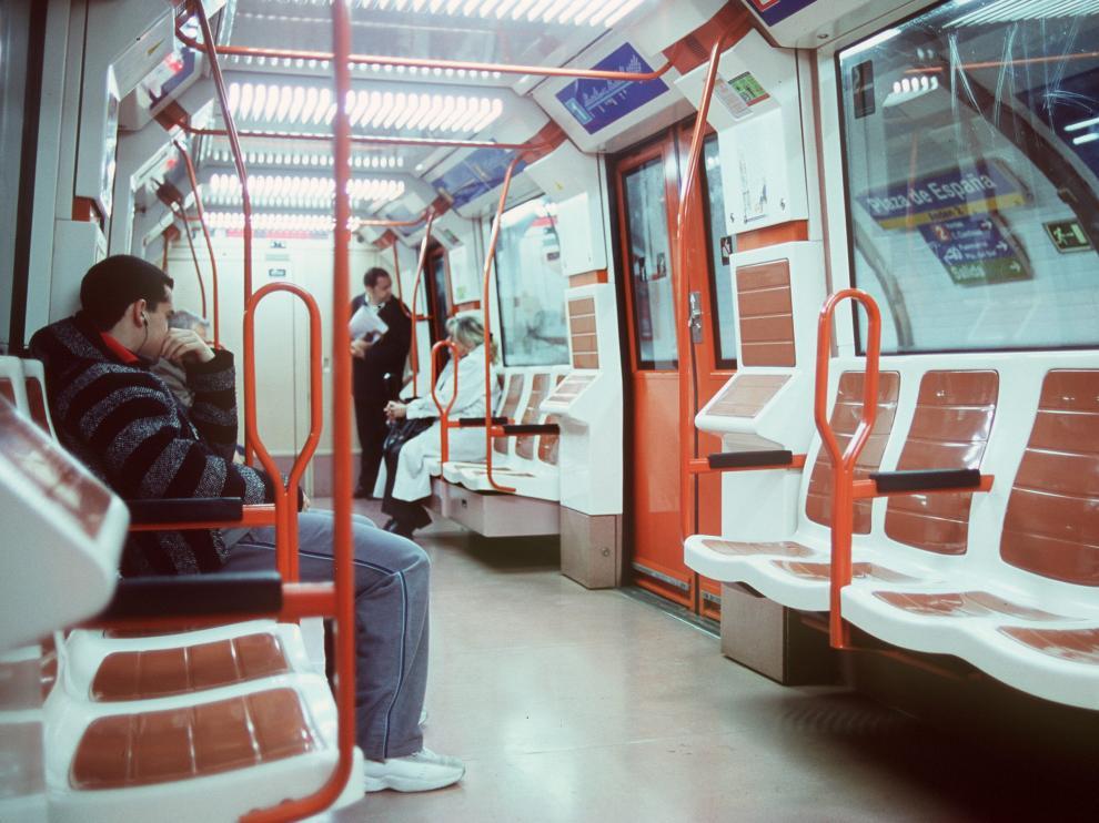 Un vagón del metro de Madrid.