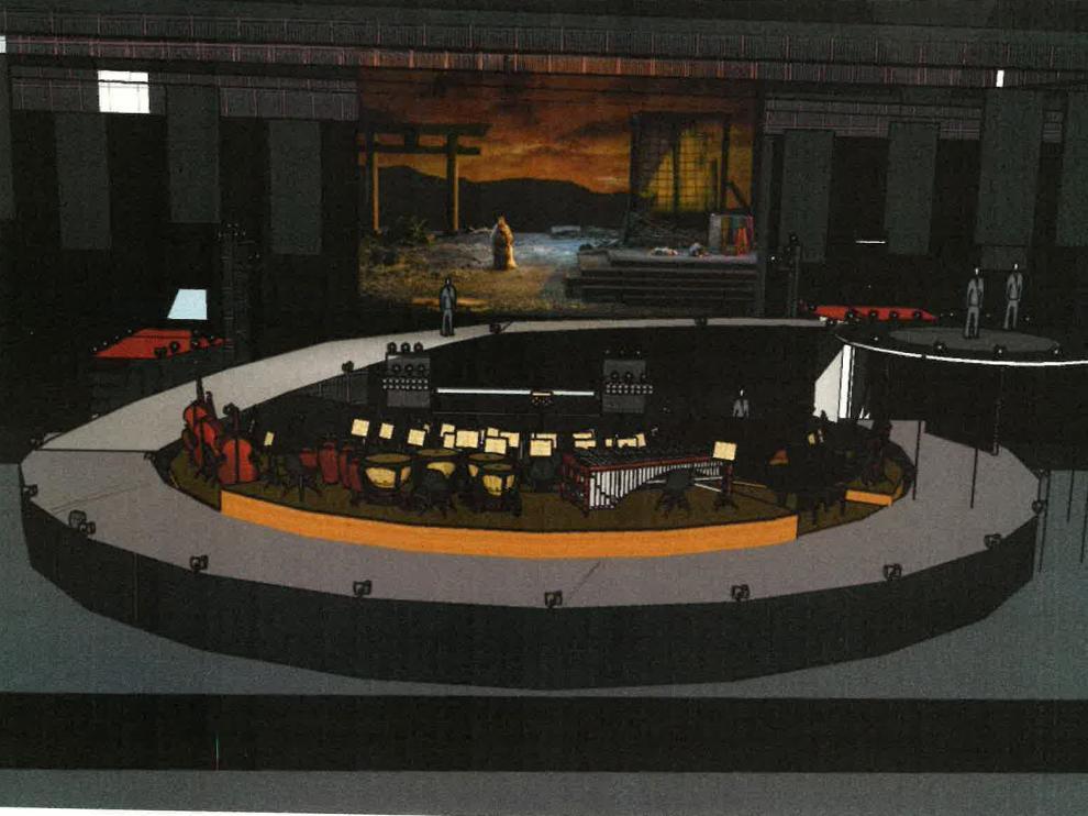 Boceto del montaje de 'Madama Butterfly', que situará a la orquesta en el centro de una pasarela.