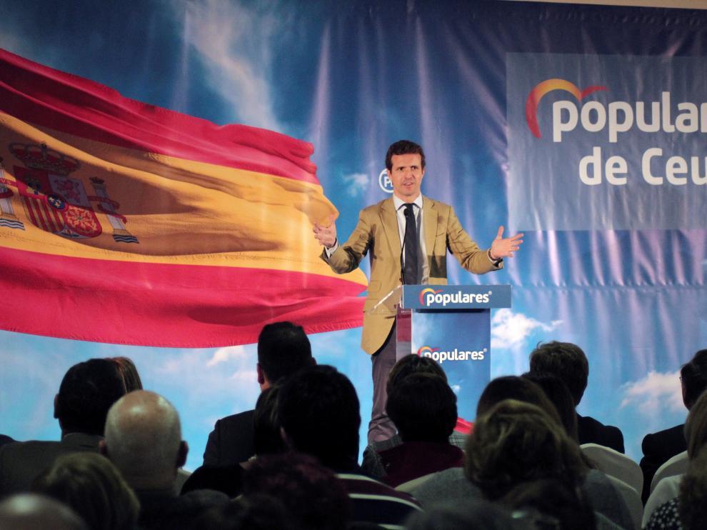 El presidente del Partido Popular, Pablo Casado, durante un acto de su partido efectuado en Ceuta. EFE/ Reduan PABLO CASADO EN CEUTA