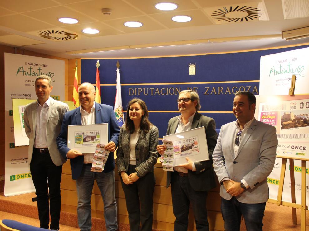 Presentacion en la DPZ de los cupones de la ONCE dedicados a Novallas y Remolinos.