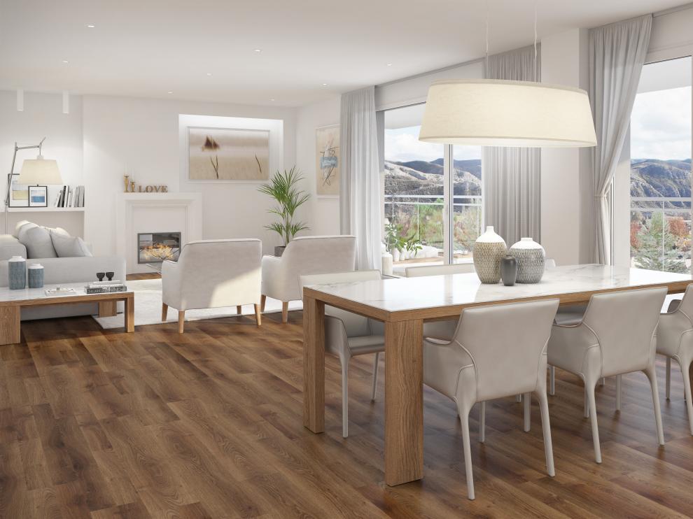 Los pisos cuentan con unos luminosos salones de 34 metros cuadrados.