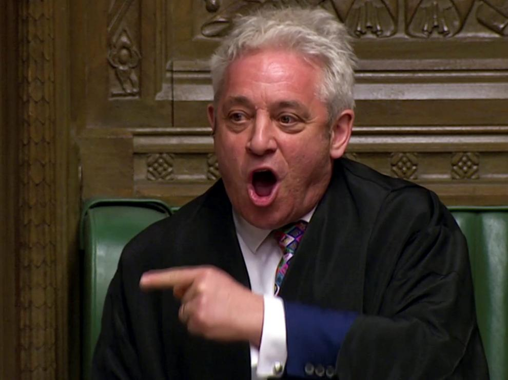 Speaker of the House John Bercow announces the results of the vote on alternative Brexit options in Parliament in London, Britain, March 27, 2019 in this screen grab taken from video. Reuters TV via REUTERS [[[REUTERS VOCENTO]]] BRITAIN-EU/