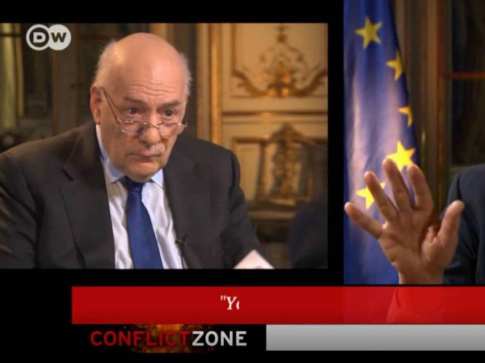 Josep Borrell en un momento de la entrevista difundida anoche por la televisión alemana Deutsche Welle.