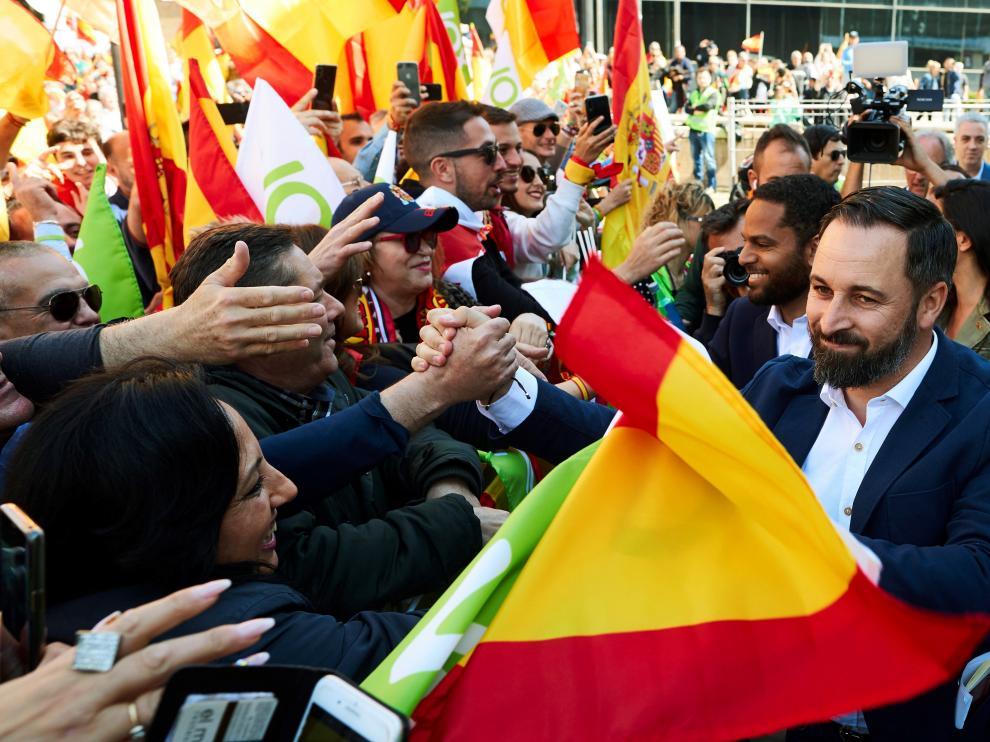 El líder de Vox durante un acto en Barcelona.