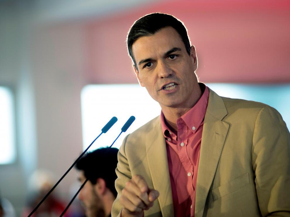 Pedro Sánchez en un mitin este sábado.