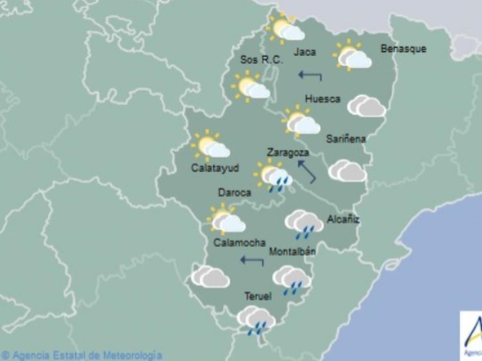 Predicción meteorológica para este domingo, de 12.00 a 24.00, en Aragón.