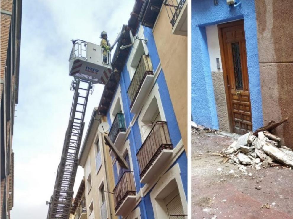 Desplome de un alero en la calle de Ramón Pignatelli