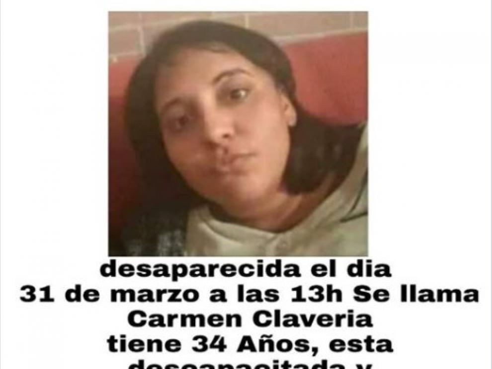 Carteles para buscar a Carmen Clavería, desaparecida en Montañana.