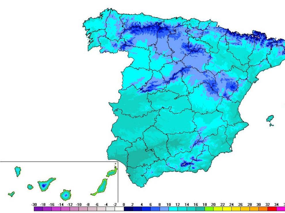 Mapa de España con la temperatura media del 14 al 22 de abril (período 1981-2018)